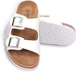 Seranoma Women's Comfort Double Buckle Indoor/Outdoor Cork Sandal | Classic Comfortable Slide | Adjustable Buckles
