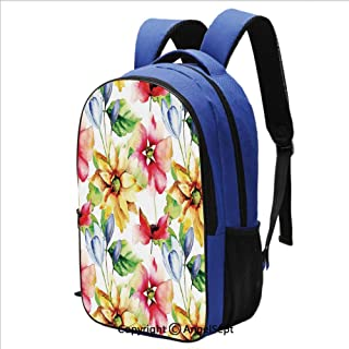 Classical Basic Travel Backpack For School Spring Flower Watercolor Effect Coun