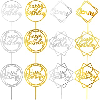 obmwang 12 Pack Acrylic Cake Topper کیک تولدت مبارک لوازم تزئینی کیک تولد لوازم تزئینی ، طلا و قلوه