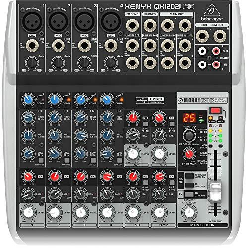 Behringer QX1202USB Xenyx Premium 12 Eingang 2 Bus Mixer mit Mic Preamps/Kompressoren/British EQs/24-Bit-Multi FX-Prozessor und USB/Audio Interface