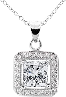 Ivy 18k White Gold Plated Princess Cut Halo Pendant Necklace - Silver Halo Necklace w/Solitaire Square Cut Cubic Zirconia Diamond - Wedding Anniversary