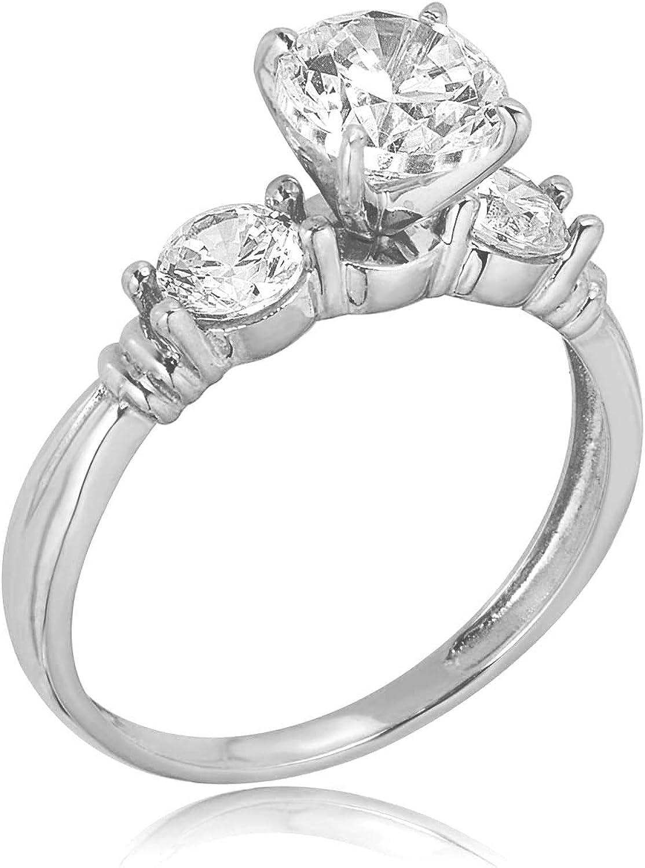 White Gold Diamond Three Stone Ring Midi Band Size 7 Stackable Ring