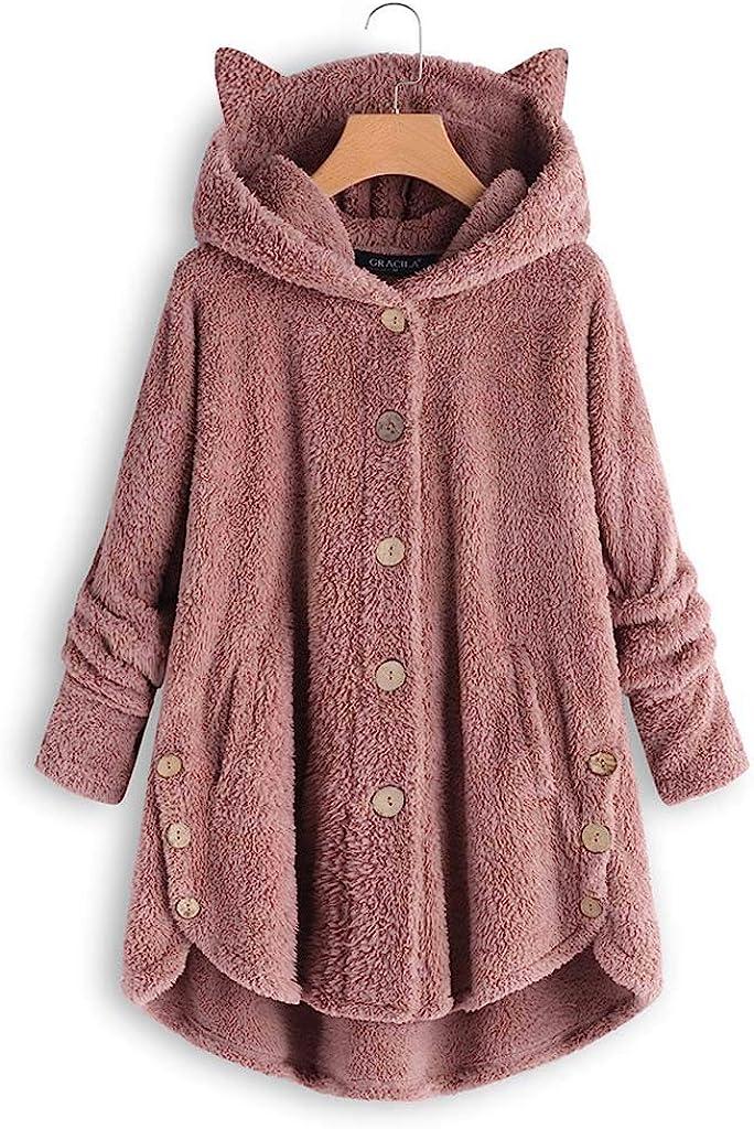 iHENGH Damen Herbst Winter Bequem Lässig Mode Jacke Frauen Mode Frauen Knopf Mantel Flauschige Schwanz Tops Mit Kapuze Lose Mantel A Rosa-1