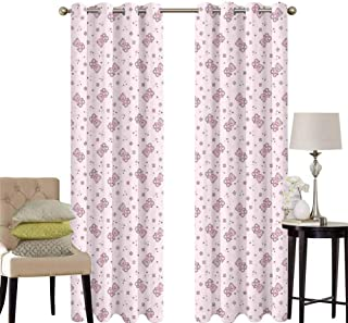 hengshu Toys Patio Door Curtains for Bedroom Teddy Bear with Squares Hearts and Blooming Flowers Pastel Colored Illustration Thermal Insulated Noise Reducing W52 x L45 Inch Pale Pink Purple