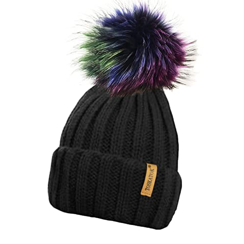 46ec9075ca2 TOSKATOK® Ladies Chunky Soft Ribbed Beanie Hat with Detachable Extra Large  Multicoloured Faux Fur Pompom