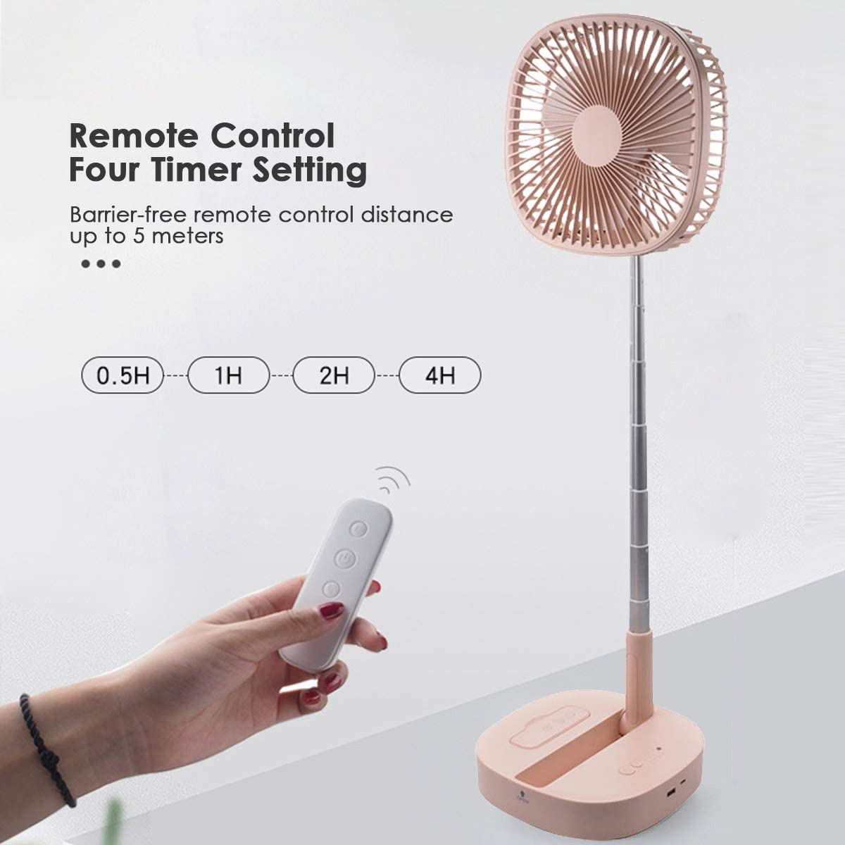 Folding Portable Telescopic Floor Air Circulator Fan Travel Mini Fans Battery Operated or USB Powered 4 Speeds Adjustable Height Pedestal Fan for Office Outdoor Camping Desk and Stand Fan