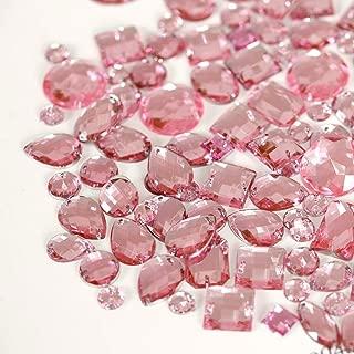 BLINGINBOX 300pcs/pack Mixed Shapes Crystal Acrylic Sew On Rhinestones Mixed Sizes Sewing Rhinestones Acrylic Stass(It.Pink)