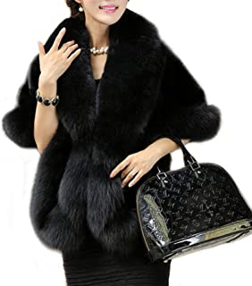 Amore Bridal Women's Luxury Faux Fur Shawl Wrap Stole Cape for Winter