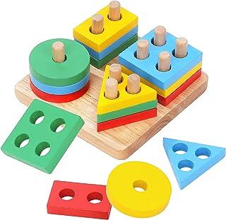 Boxiki kids Wooden Stacking Toys & Shape Sorting Board   Geometric Shape Stacker   Eco-Friendly & Non-Toxic Wooden Toy   E...