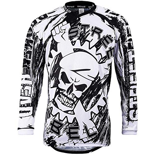 Broken Head MX Jersey Street Rebel Weiß-Schwarz - Langarm Funktions-Shirt Für Moto-Cross, Mountain Bike, Offroad - S