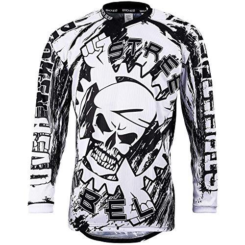 Broken Head MX Jersey Street Rebel Weiß-Schwarz - Langarm Funktions-Shirt Für Moto-Cross, Mountain Bike, Offroad - L
