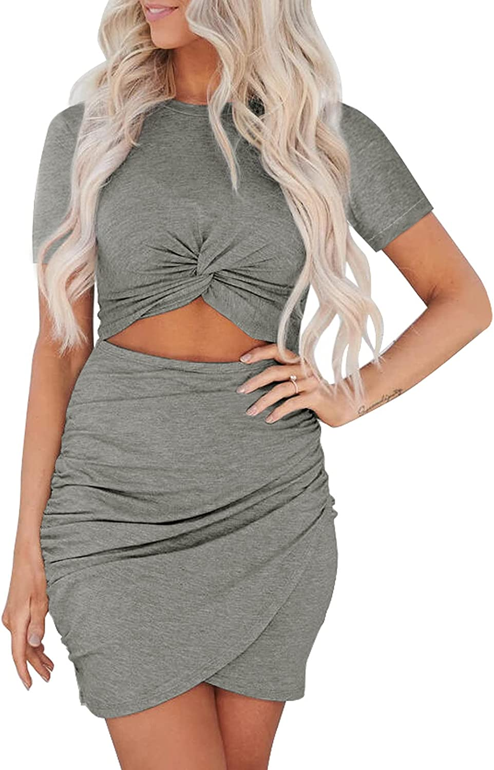 Ecrocoo Women's Dress Solid Color Crewneck Bodycon Tie Knot Hollow Out Ruched Wrapped Hip Short Dress