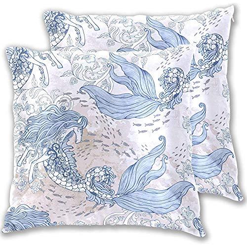 Caballo Sirenas Barroco Elementos antiguos Flores Peces Kelpie Arrecifes de coral Fundas de almohada Fundas de almohada cuadradas, 18X18 in