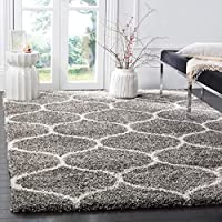 Flora Rugs Grey & Ivory Microfiber Shaggy Carpet for Living Room Bedroom Drawing Room Hall & Floor Size-9 X 9 Ft Square