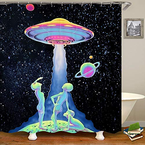 SARA NELL Alien Shower Curtain Green Alien UFO Starry Sky Galaxy Shower Curtains Bathroom Curtain,Waterproof Polyester Fabric Home Decor Set,72X72 Inches with 12 Hooks