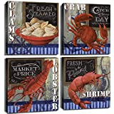 Kitchen Wall Art Beach Seafood Decor Red Crab Lobster Canvas Prints Home Decoration Rustic Delicious Food Poster 4 Pcs/Sets Fresh Steamed Shell Pictures Farmhouse Restaurant Painting 12×12 Inch