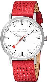 Mondaine - Classic para Hombre, Blanco, Rojo, Correa de Cuero, 40 mm, Reloj Suizo de ferrocarriles A660.30360.16SBC