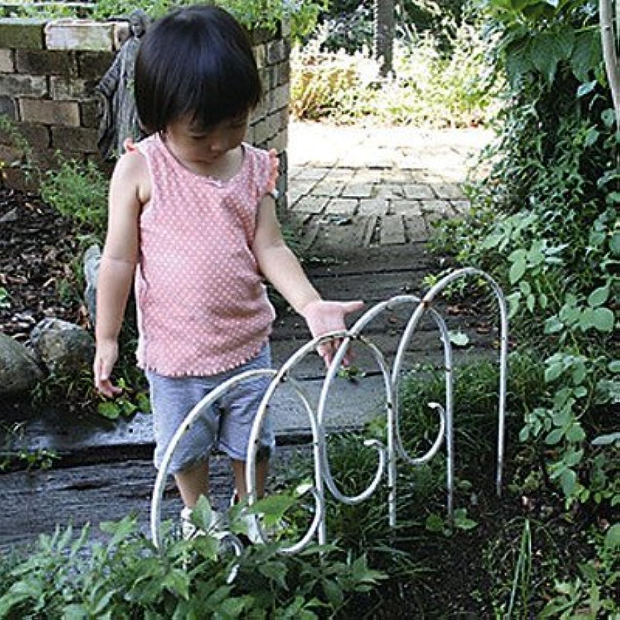 作家衰える生きる花壇 ミニフェンス アイアンフェンス P型 アンティークホワイト 4枚組 120×50cm