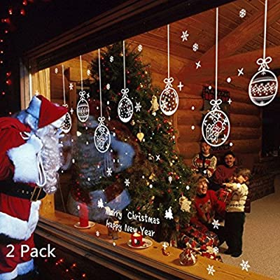 Snowflake Merry Christmas Wall Decal Christmas Decoration Sticker for Window Home Hotel Bar Store Display