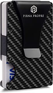 Minimalist Wallet Carbon Fiber with RFID blocking system | Up to 12 cards - Slim card holder wallet for men | Carbon Fiber Wallet with Removable Money Clip added by PirnaPropre
