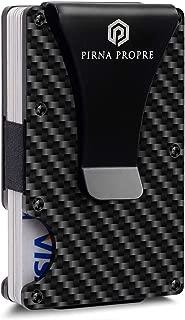 Minimalist Carbon Fiber Wallet with Metal Money Clip - RFID Slim Card Holder for Men