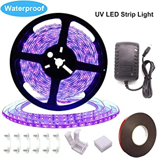 UV Black Light Strip, Ultraviolet led Strip Lights 16.4Ft/5M 24W 300 Units Lamp Beads, IP65 Waterproof Purple Light for Fluorescent Dance Party, Body Paint, Night Fishing, with 12V 2A Power Supply