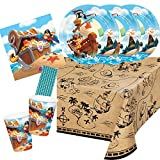 CC/Hobbyfun 41-teiliges Party-Set - Pirat - Piratenschiff -Teller Becher Servietten Tischdecke Trinkhalme für 8 Kinder