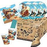 CC/Hobbyfun 41-teiliges Party-Set - Pirat - Piratenschiff -Teller Becher Servietten Tischdecke Trinkhalme für 8 Kinder