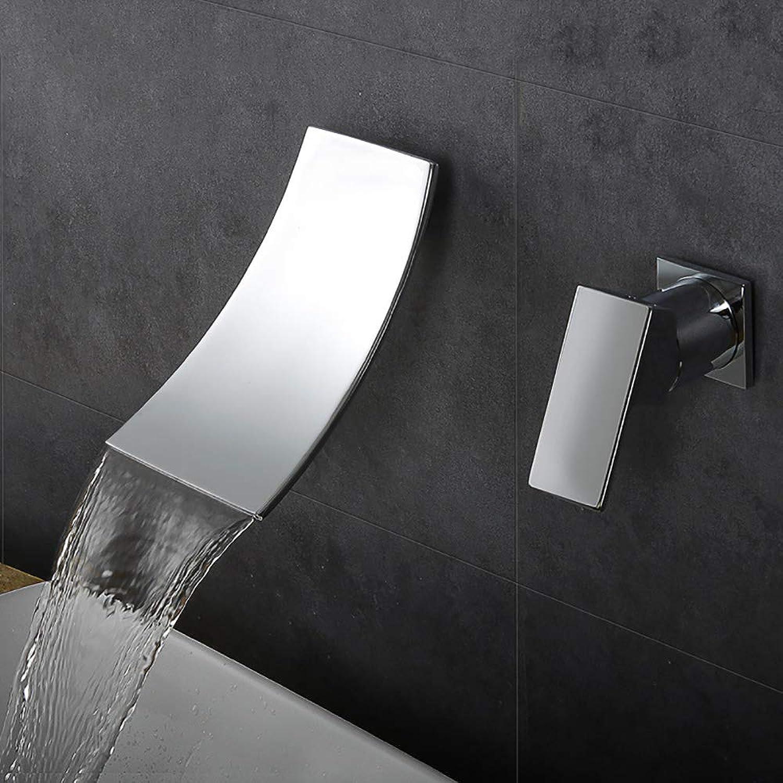 HUIJIN1 Wandmontage Bad Wasserhahn, Einhand-Messingkrper Wasserfall Breiten Auslauf, zeitgenssische Waschbecken Wasserhahn und grobe in Ventil enthalten,Chrome