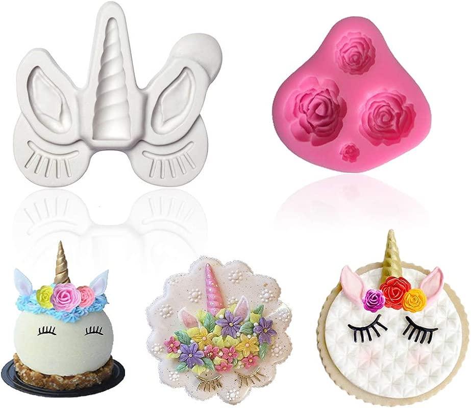 Palksky Unicorn Fondant Mold Unicorn Birthday Cupcake Topper Mold Unicorn Horn Ears And Eyelash Flower Cake Decoration Chocolate Candy Making Mold Set Of 2
