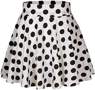 ZXFHZS Womens Casual Loose A Line High Rise Pleated Polka Dot Print Skirt