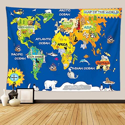 haoyunlai Mapa del Mundo Tapicería de tapicería Hippie Psicodélico Decorativo Muro Alfombrilla Hoja de Cama Bohemia Hippie Decoración para el hogar para niños Regalos-FGT6522_180 * 230cm