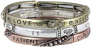 4030472 3 Piece Bracelet Set Love is Patient 1st Corinthians Christian Religious Jewelry