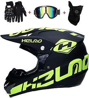 CHEYAL Motorradhelm Cross Helme Schutzhelm Motocross Helm für Motorrad Crossbike Off Road Enduro Sport mit Handschuhe Sturmmaske und Brille 58-59CM Gelb Fluoreszenz