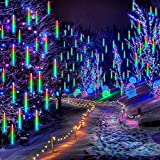 Falling Rain Lights 11.8 inch 8 Tube, Meteor Shower Lights Waterproof, Icicle Snow Fall String Cascading Lights, Christmas Lights for Holiday Party Wedding, Garden Decoration (Colorful)