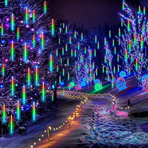 Falling Rain Lights 11.8 inch 8 Tube 224 LEDs, Meteor Shower Lights Waterproof, Icicle Snow Fall String Cascading Lights, Christmas Lights for Holiday Party Wedding, Garden Decoration (Colorful)