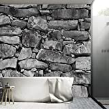 murimage Papel Pintado Piedras en Muro 366 x 254 cm Incluyendo Pegamento Fotomurales Vista 3D Blanco y Negro Casa Rural Sala Living Baño