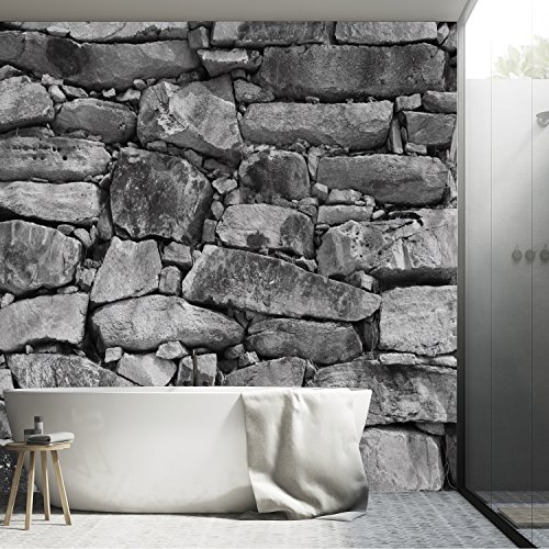 murimage Fototapete Stein 3D 366 x 254 cm inklusive Kleister Steinwand Schwarz Weiß Weiss Mauer Ziegel Tapete