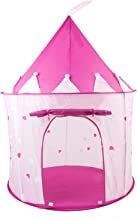 Feelway Princess Castle Girls Play Tent w/ Glow in The Dark Stars Children's Play Tents for Indoor & Outdoor Use with Pink Girls Playhouse Carrying Case