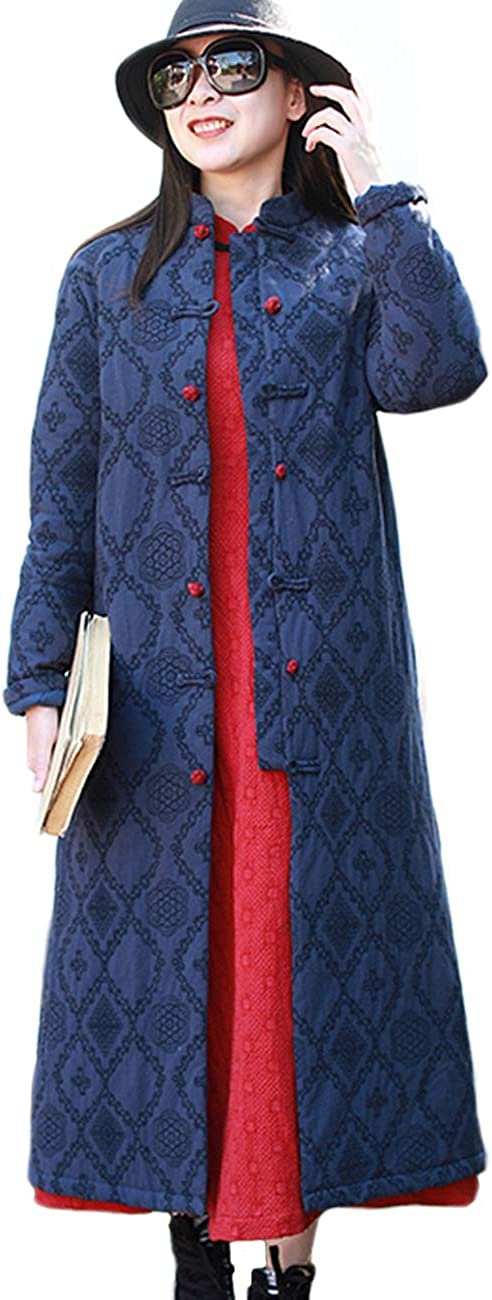 Free shipping / New LZJN Women's Winter New mail order Quilted Jacket Overcoat Long Ch Collar Stand