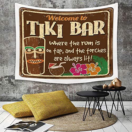 Tapestry,Hippie Tapiz,Tapiz de Pared con decoración para el hogar,Tiki Bar Decor, Antiguo Signo de Marco de Tiki Bar con Cita Inspirada Vi,para Picnic Mantel o Toalla de Playa Redonda 150 x 200 cm