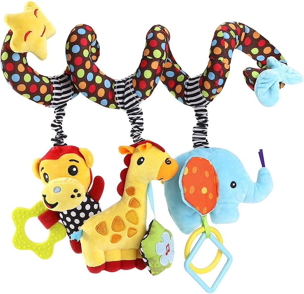 Zocita Baby Kid Music Spiral Toy Monkey Elephant Giraffe Bed Crib Stroller Educational Plush Toy