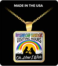 Paradise Group Square Necklace - Oh How I Wish the Rainbow Bridge had Visiting Hours! - Gift Idea for a Dog Lover 1 inch