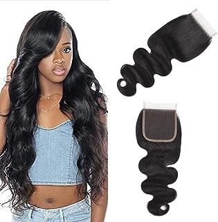 10A Brazilian Closure Body Wave 100% Unprocessed Virgin Human Hair Lace Closure 4X4 Free Part Natural Black(Free part 16inch)