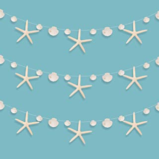 3 Pieces Starfish Seashell Banner Ocean Themed Banner Garland Hanging Banner Decoration for Birthday Beach Wedding Baby Shower Party Supplies