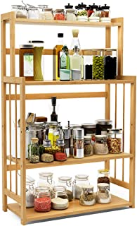 4-Tier Standing Spice Rack LITTLE TREE Kitchen Bathroom Countertop Storage Organizer, Bamboo Spice Bottle Jars Rack Holder with Adjustable Shelf, Bamboo