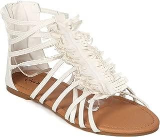 Women Open Toe Fringe Flat Gladiator Sandal - HK69 by Qupid Collecction