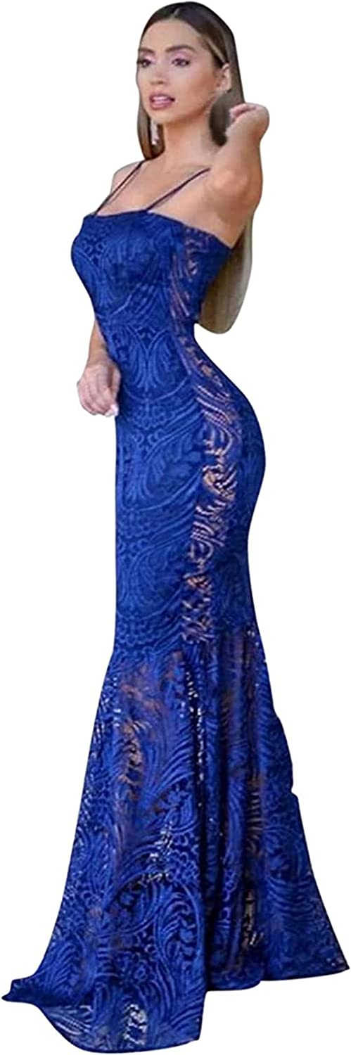 Ladies Solid Color Long Skirt Albuquerque Mall Banquet Backless Popular brand in the world lace Dress