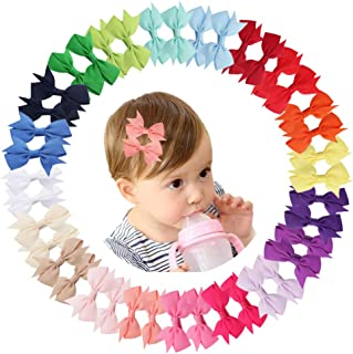 Demolling 40pcs 2 Inch Mini Grosgrain Ribbon Pinwheel Hair Bows Alligator Clips for Baby Girls Teens Toddlers Infants Kids