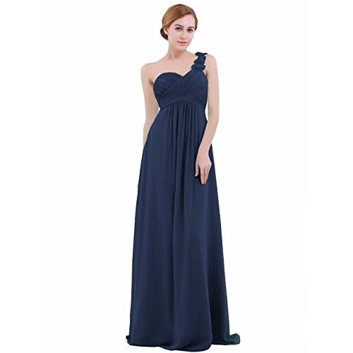 65246f5257f4 iEFiEL Womens One-Shoulder Chiffon A-line Bridesmaid Maxi Long Evening  Party Prom Gown